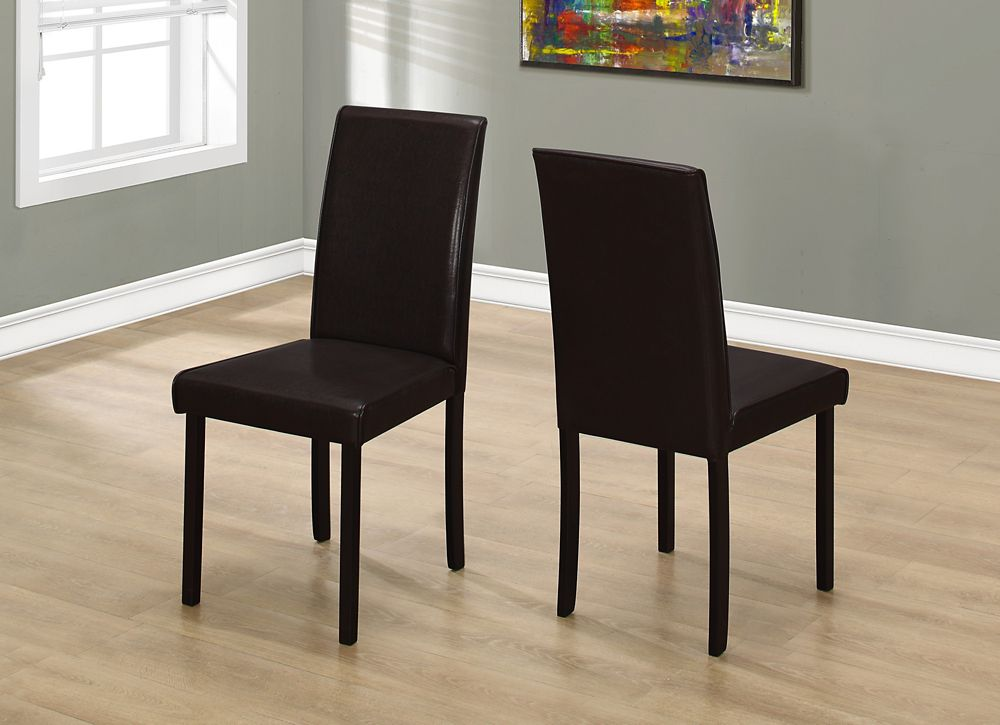 Sensational Solid Wood Brown Parsons Armless Dining Chairs Wth Dark Brown Faux Leather Seats Set Of 2 Pabps2019 Chair Design Images Pabps2019Com