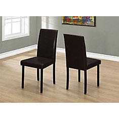 Solid Wood Brown Parsons Armless Dining Chairs wth Dark Brown Faux Leather Seats - Set of 2