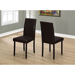 Monarch Specialties Solid Wood Brown Parsons Armless Dining Chairs wth Dark Brown Faux Leather Seats (Set of 2)