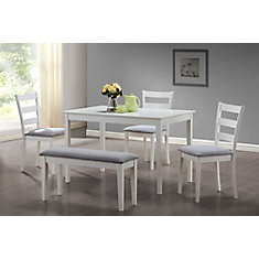 Dining Set - 5-Piece Set / White Bench And 3 Side Chairs