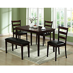 Dining Set - 5-Pieces Set / Cappuccino Bench & 3 Side Chairs