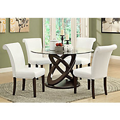 Solid Wood Brown Parson Armless Dining Chair with Beige Faux Leather Seat - (Set of 2)