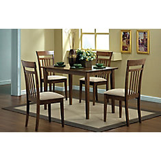 Dining Set - 5-Pieces Set / Walnut Finish