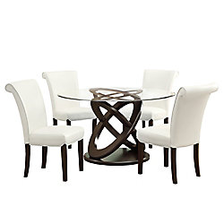 Monarch Specialties 48-inch Dia Round Dining Table in Espresso with Tempered Glass Top