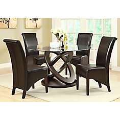 Solid Wood Brown Parson Armless Dining Chair with Brown Faux Leather Seat - Set of 2
