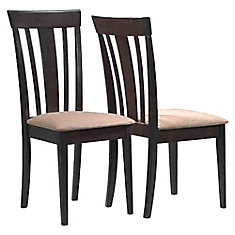 Solid Wood Brown Slat Back Armless Dining Chair with Beige Microfibre Seat - Set of 2