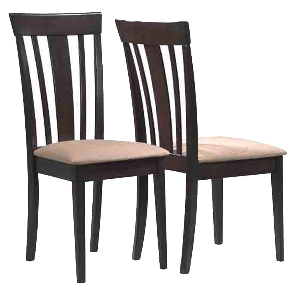 Monarch Specialties Solid Wood Brown Slat Back Armless Dining Chair with Beige Microfibre Seat - Set of 2
