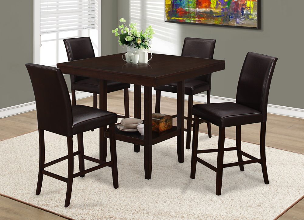 monarch specialties dining table 42 inch x 42 inch cappuccino counter height the home. Black Bedroom Furniture Sets. Home Design Ideas