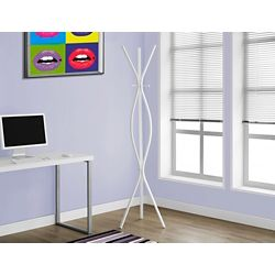 Monarch Specialties Coat Rack - 72 Inch H / White Metal Contemporary Style