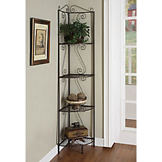 4 Shelf Metal Bookcase In Brown