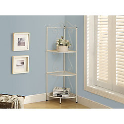 Monarch Specialties 4-Shelf Metal Bookcase in White