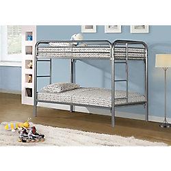 Monarch Specialties Bunk Bed - Twin / Twin Size / Silver Metal