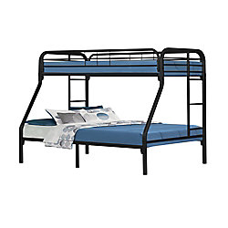 Monarch Specialties Bunk Bed - Twin / Full Size / Black Metal