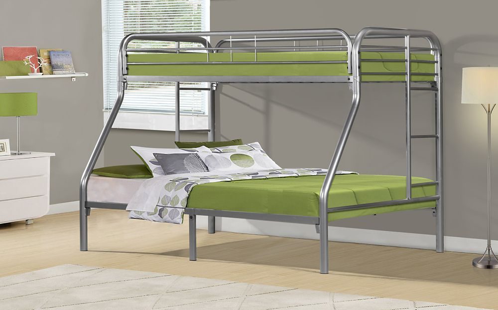 Monarch Specialties Bunk Bed - Twin / Full Size / Silver Metal