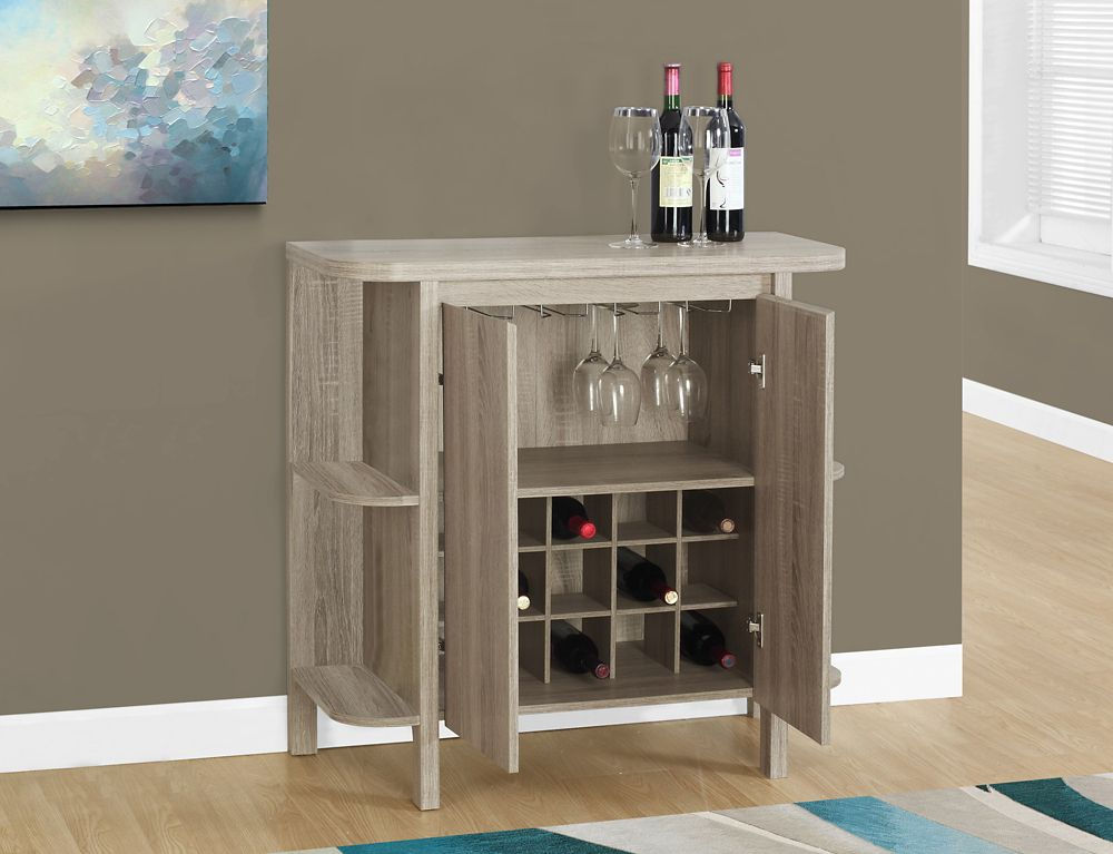Monarch Specialties Home Bar 36 Inch H Dark Taupe With