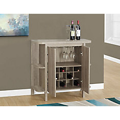 Home Bar - 36 Inch H /Dark Taupe With Bottle And Glass Storage