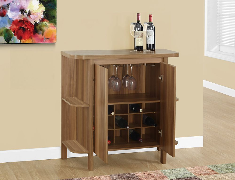 Monarch Specialties Home Bar - 36 Inch H / Walnut With Bottle And Glass Storage