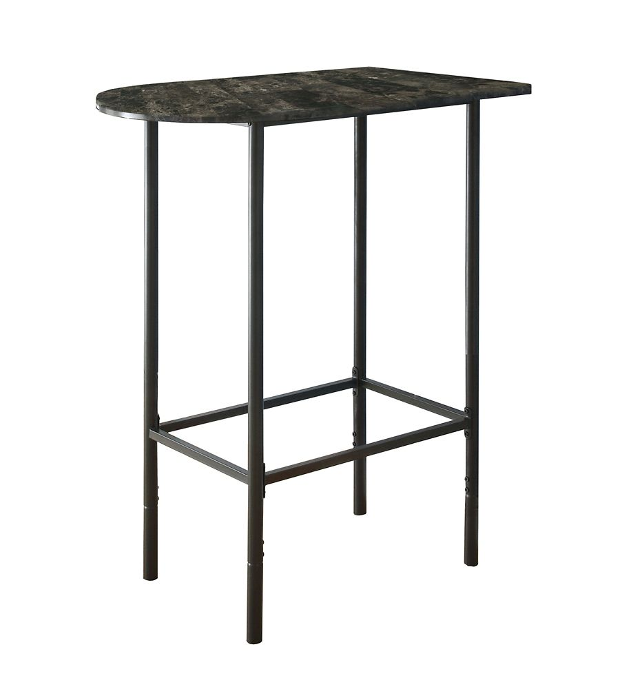 Monarch Specialties Home Bar - 24 Inch X 36 Inch  / Grey Marble / Charcoal Metal
