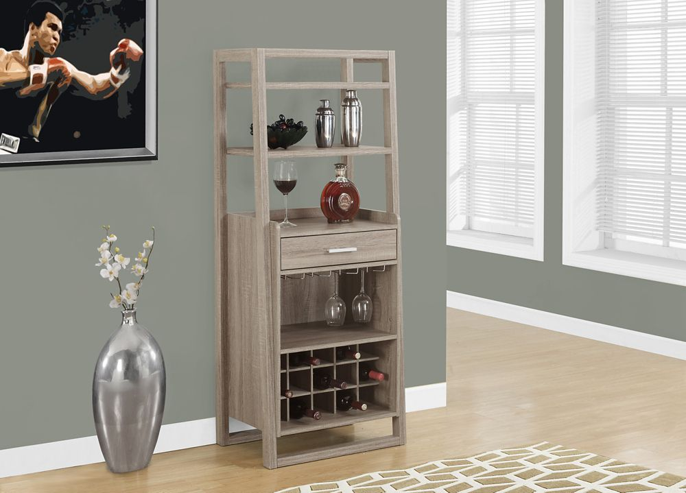 Monarch Specialties Home Bar - 60 Inch H / Dark Taupe Ladder Style