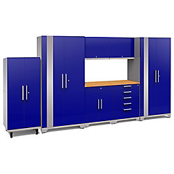 NewAge Products Inc. 80-inch H x 156-inch W x 24-inch D Steel Garage Cabinet Set in Blue (8-Piece) with Bamboo Worktop