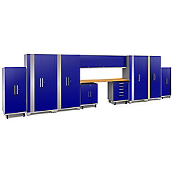 NewAge Products Inc. Performance 2.0 Blue Mobile Garage Cabinet Set (12-Piece)