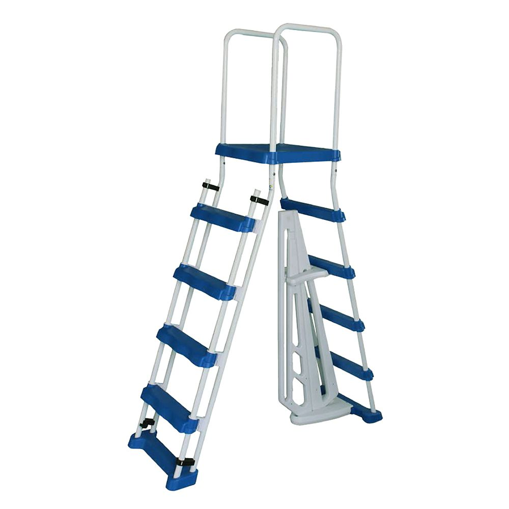 Blue Wave 52-inch A-Frame Ladder w/ Safety Barrier and Removable Steps for Above Ground Pools