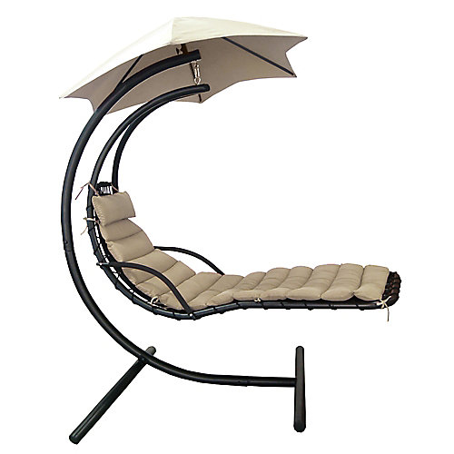 Island Retreat Hanging Lounge w/ Shade Canopy in Khaki
