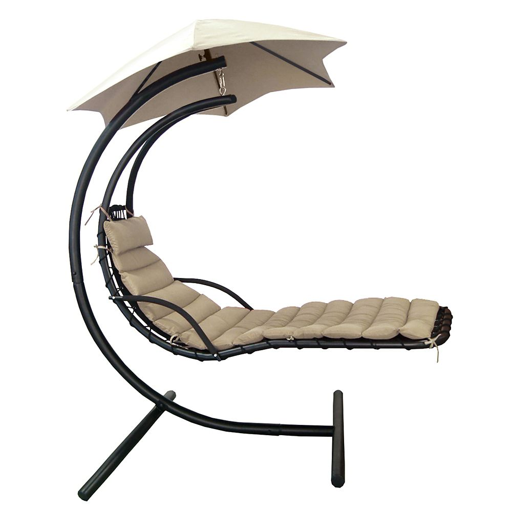 Island Umbrella Island Retreat Hanging Lounge w/ Shade Canopy in Khaki