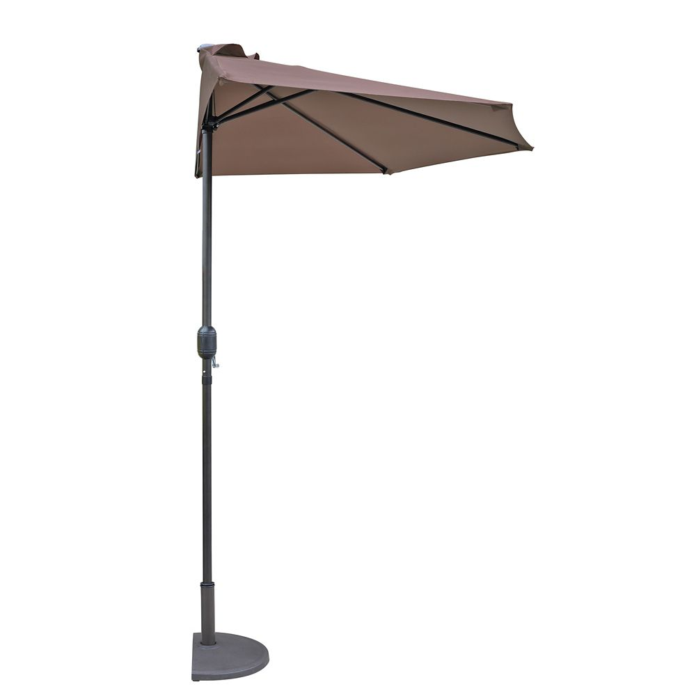 Island Umbrella Lanai 9 ft. Half Umbrella in Coffee Polyester