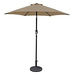 Island Umbrella Bistro 7.5 ft. Hexagonal Market Umbrella in Stone Olefin