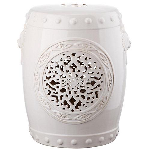 Flower Drum Garden Stool in Cream