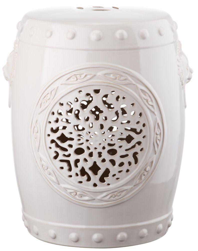 Safavieh Flower Drum Garden Stool in Cream