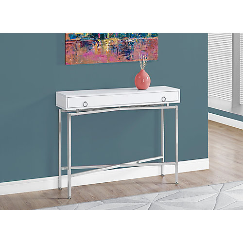 monarch specialties accent table - 42 inch l / glossy white / chrome