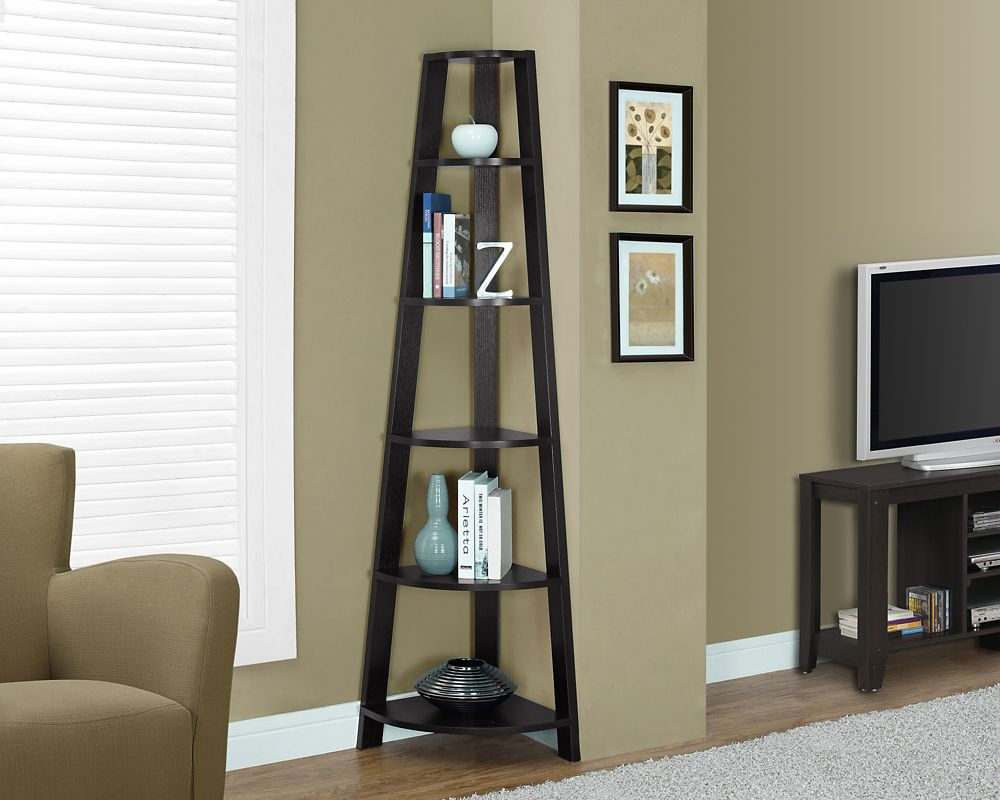 Monarch Specialties 5-Shelf Manufactured Wood Bookcase in Brown