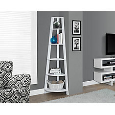 72-inch Rounded Tiered Corner Étagère in White