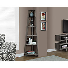 5-Shelf Manufactured Wood Bookcase in Beige