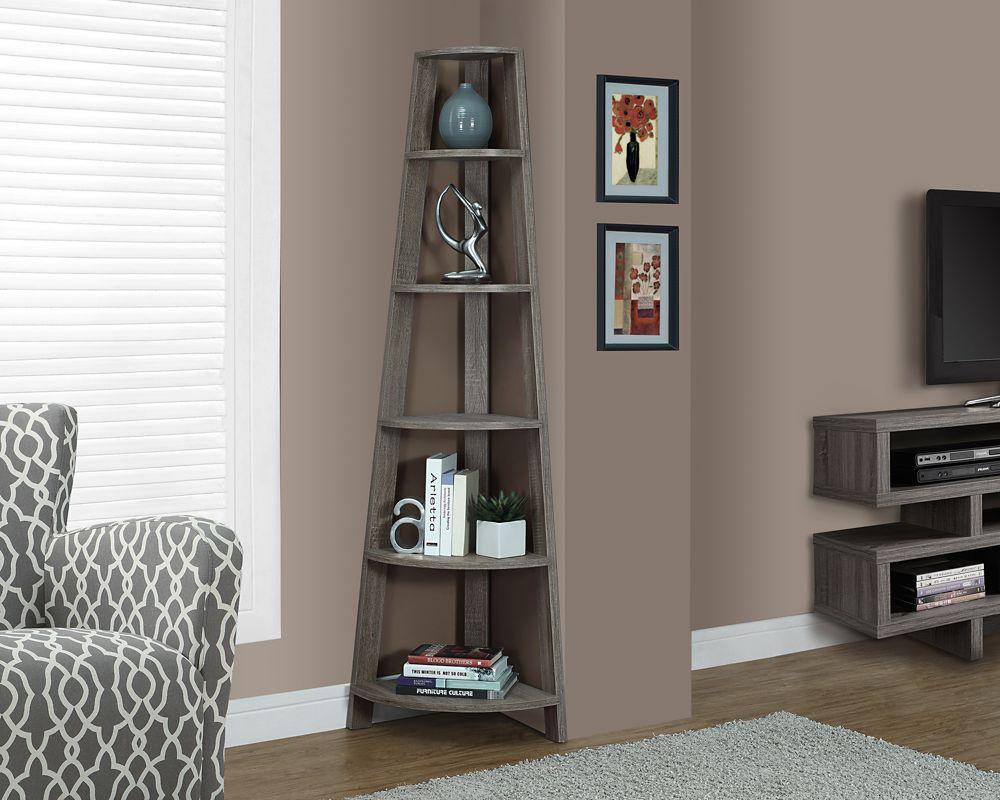 Monarch Specialties 5-Shelf Manufactured Wood Bookcase in Beige