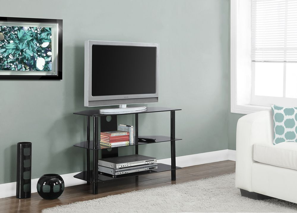 Monarch Specialties Tv Stand - 36 Inch L / Black Metal With Tempered Black Glass