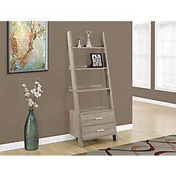 Monarch Specialties 4-Shelf Manufactured Wood Ladder Bookcase in Beige