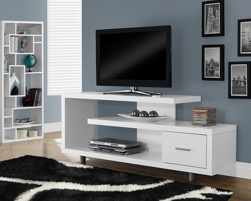 Monarch Specialties Tv Stand 60 Inch L White With 1 Drawer The