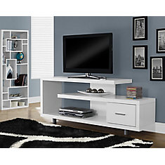 Tv Stand 60 Inch L White With 1 Drawer