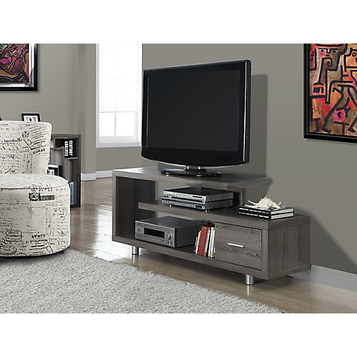 Tv Stand - 60 Inch L / Dark Taupe With 1 Drawer