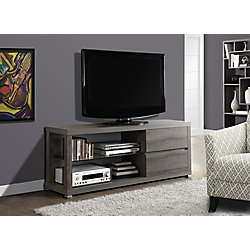 Monarch Specialties Tv Stand - 60 Inch L / Dark Taupe With Tempered Glass