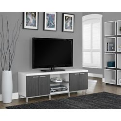 Monarch Specialties Meuble Tv 60 Po L Blanc Gris Home Depot