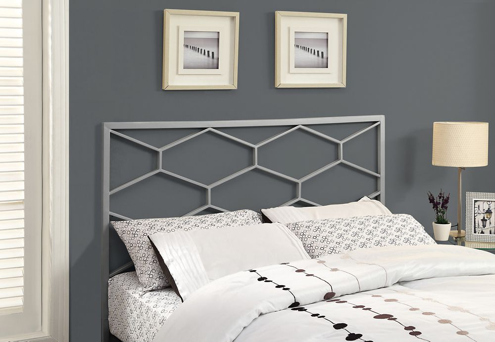 Monarch Specialties Bed - Queen Or Full Size / Silver Headboard Or Footboard