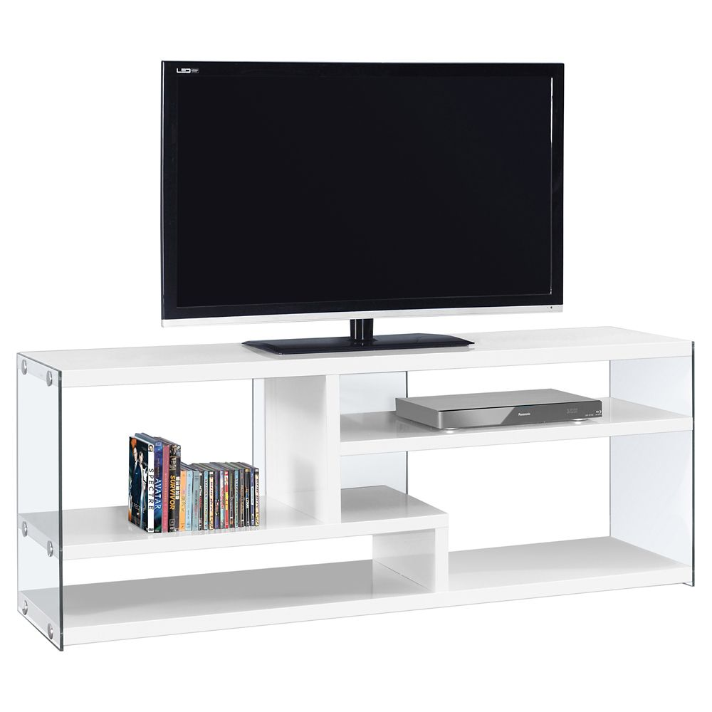 Monarch Specialties Tv Stand - 60 Inch L / Glossy White With Tempered Glass
