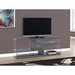 Monarch Specialties Tv Stand - 60 Inch L / Glossy Grey With Tempered Glass
