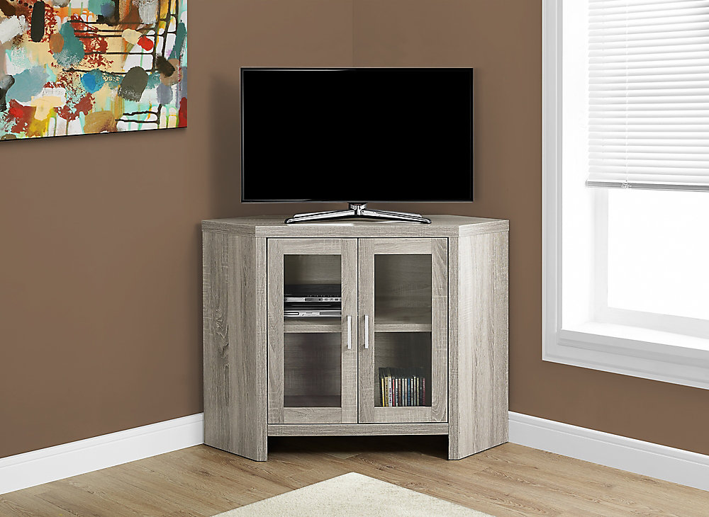 Tv Stand - 42 Inch L / Dark Taupe Corner With Glass Doors