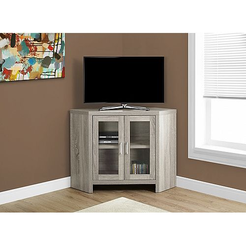 Monarch Specialties Tv Stand - 42 Inch L / Dark Taupe Corner With Glass Doors