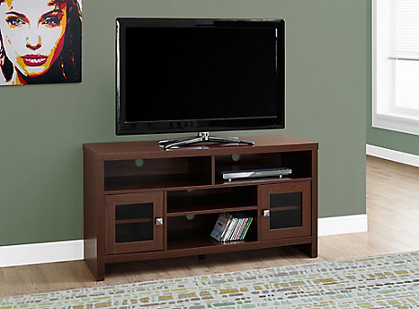 Monarch Specialties Tv Stand 48 Inch L Warm Cherry With Glass